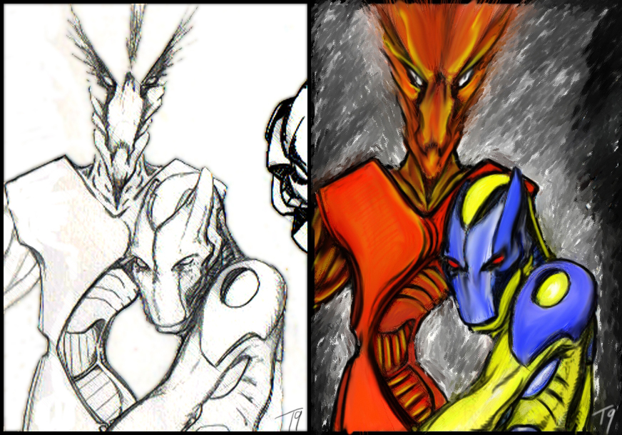 Line Art and Painted versions