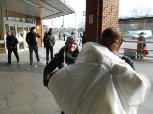 A chilly day in Staines, A Wedding Dress in a bag