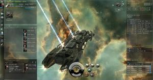 Screenshot of a spaceship firing mining lasers against a nebula background