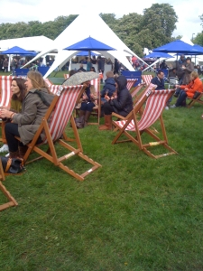 deckchairs on the green