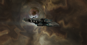 Algos Destroyer next to an EVE Wormhole