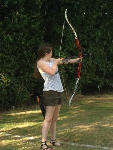 Arrow nocked, bow ready to shoot