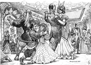 line art illustration of fantasy races at a masked ball