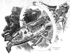 line art depiction of an Eberron elemental airship