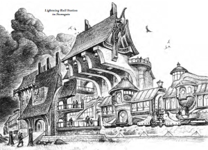 Illustration of an Eberron Lightning Rail station