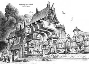 Illustration of an Eberron Lightning Rail station