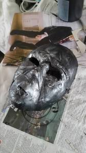 One of the masks with early silver drybrushing