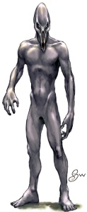 A hairless humanoid with large eyes, a bodak