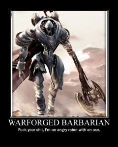 warforged barbarian with an axe