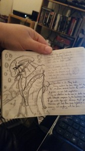 Doodles and writing