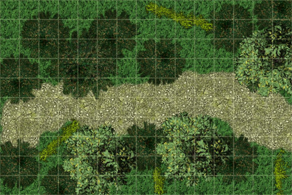 gridded map depicting a lateral  left/right pathway between trees and bushes
