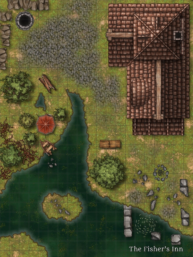 A 20x27 gridded top down map of an inn, its cobbled courtyard, some scattered ruins, and the bank of a river